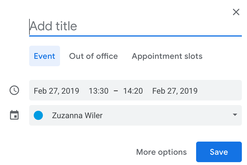 Snippet of the author's Google Calendar recurring meeting