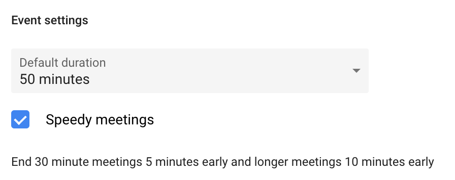 Snippet of the author's Google Calendar speedy meeting