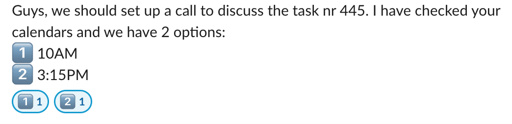 Snippet of the author's Slack poll